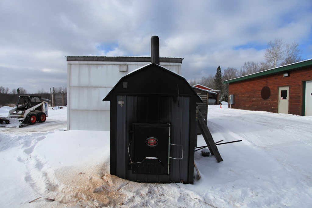 LRS's wood-fired boiler for heating the premises and kiln-drying wood