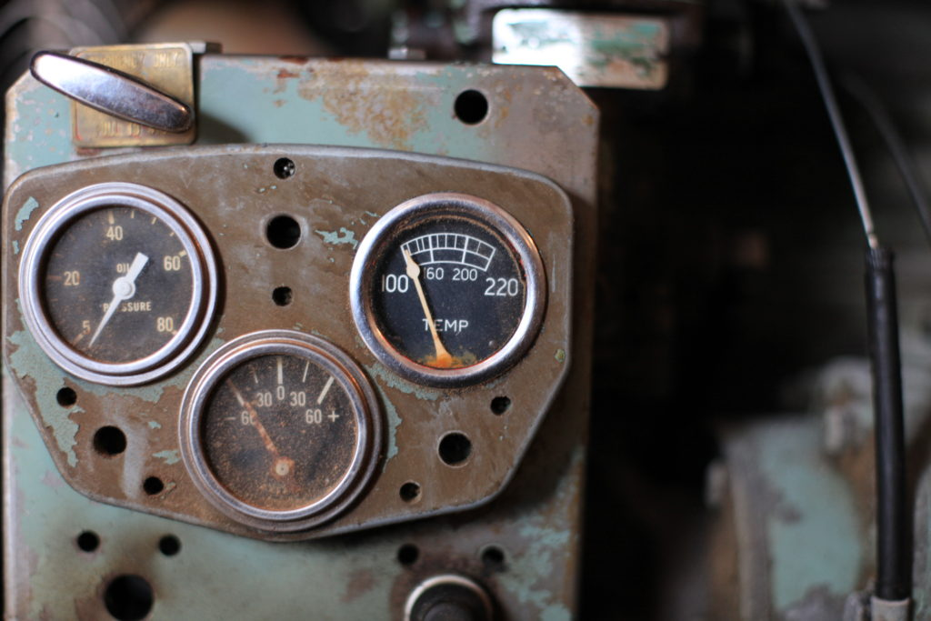 Controls on the Detroit Diesel engine that runs the main saw
